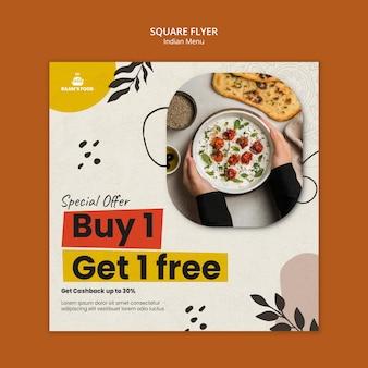Indisches essen quadratischer flyer-design-vorlage