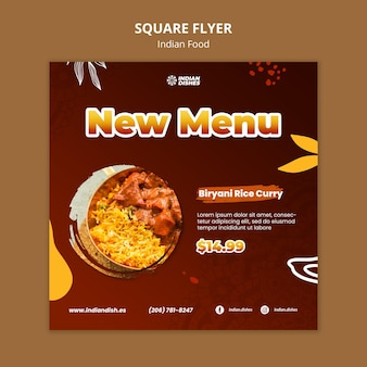 Indisches essen restaurant quadratische flyer vorlage