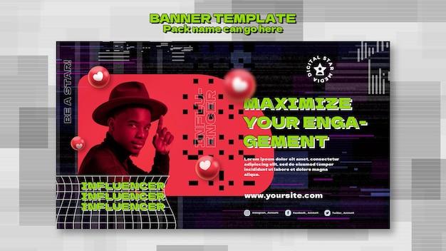Influencer-banner-vorlage mit foto Kostenlosen PSD