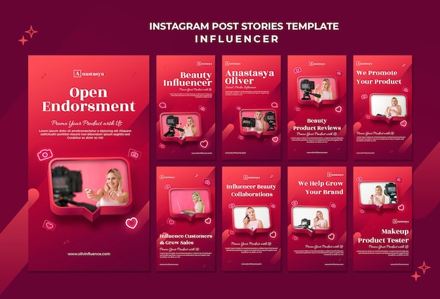 Influencer concept instagram geschichten