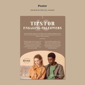 Influencer konzept poster vorlage