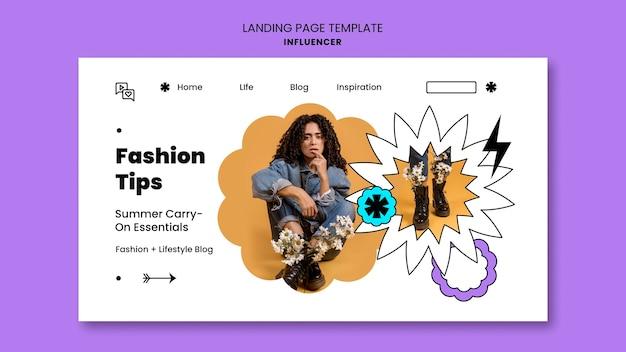 Influencer landing page vorlage mit foto