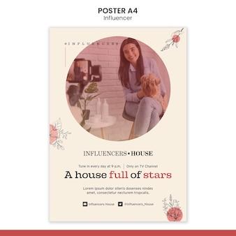 Influencer poster vorlage mit foto