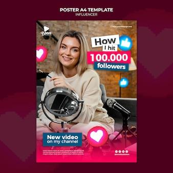 Influencer-poster-vorlage mit foto