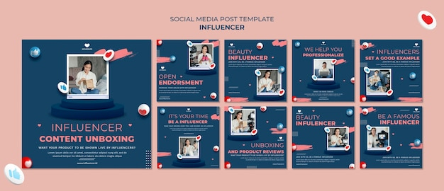 Influencer social media post Kostenlosen PSD