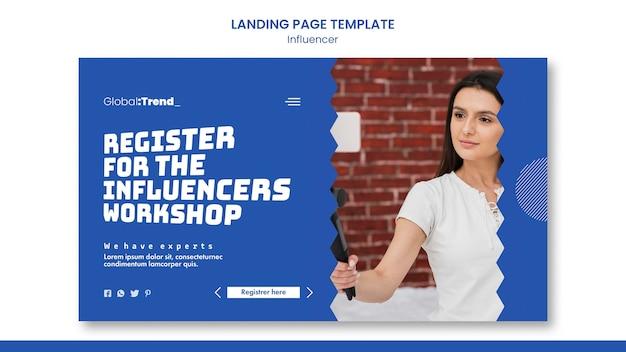Influencer workshop landing page vorlage