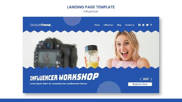 Influencer workshop landing page