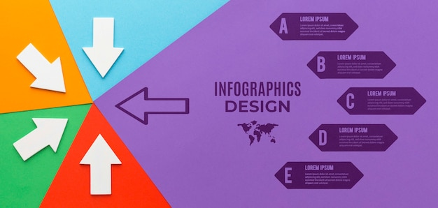 Infografik-modell mit verschiedenen gerichteten pfeilen