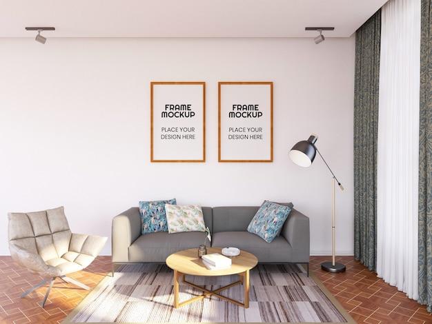 Innen wohnzimmerrahmen foto mockup