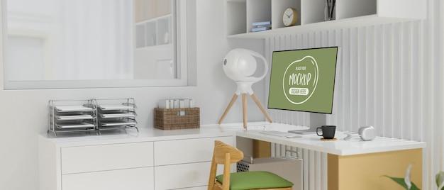 Innenarchitektur des büros mit computertisch bürobedarf möbel und dekorationen 3d-rendering-seitenansicht
