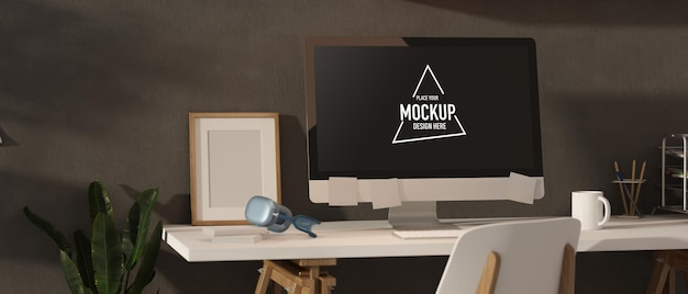 Innenarchitektur des loft-büroraums des 3d-renderings mit computer
