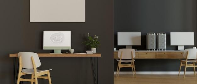 Innenarchitektur des loftbüroarbeitsplatzes mit drei computerschreibtischen im raum