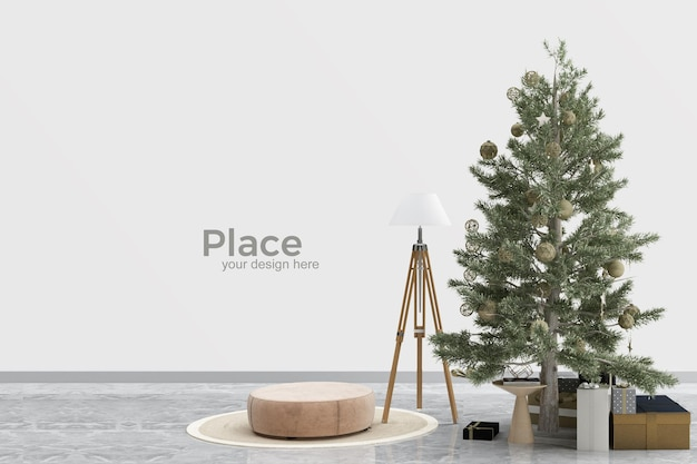 Innenarchitektur des wohnzimmers mit weihnachtsbaum