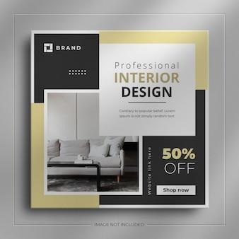 Innenmöbel social-media-web-banner und immobilienquadrat instagram-story-post