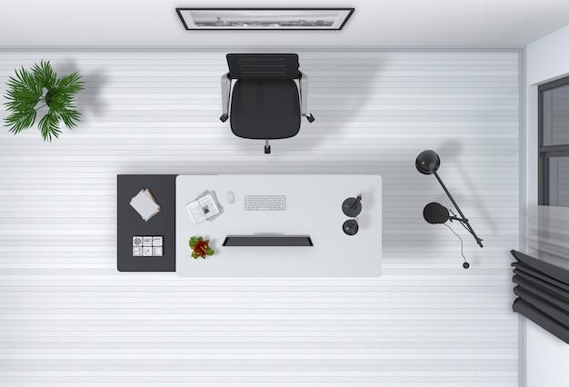 Innenraum des büros mit 3d-rendering der draufsicht des desktop-computers