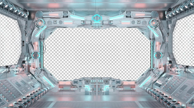 Innenraum des raumschiffcockpits mit isoliertem fenster