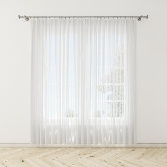 Innenraum mit weißen vorhängen