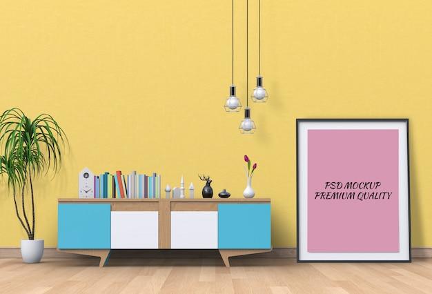 Innenwohnzimmer mit leerem plakat des sideboards und des modells.