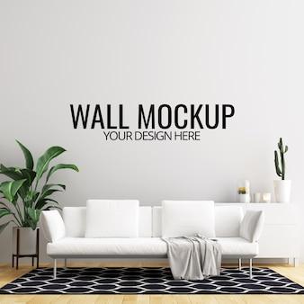 Innenwohnzimmer-wand-hintergrund-modell mit möbeln und dekoration