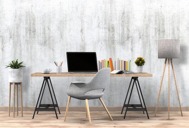Innenwohnzimmerarbeitsplatz mit tischrechner und leerem plakat des modells