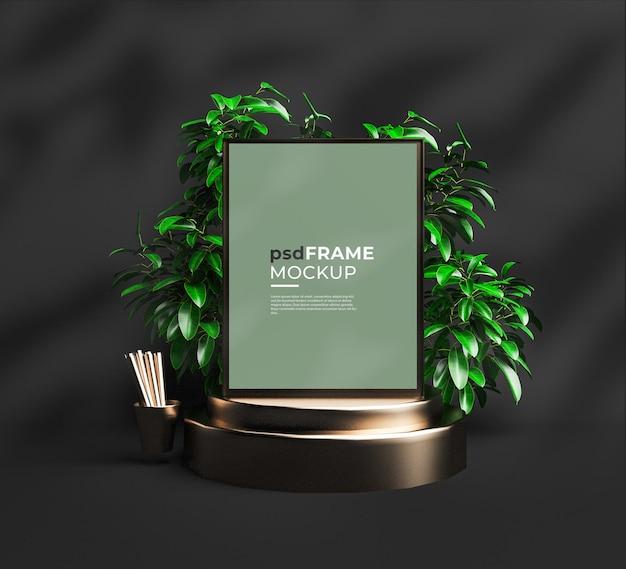 Inneres leeres rahmenmodell mit topfpflanzen und podiumsform
