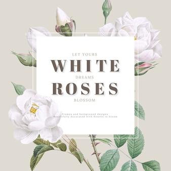 Inspirierend kartendesign der weißen rosen