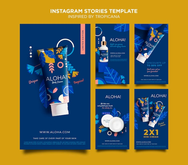 Inspiriert von tropicana instagram geschichten Premium PSD