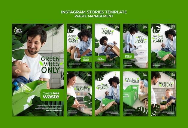 Insta-story-designvorlage für abfallmanagement