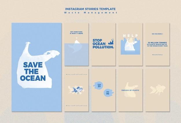 Insta-story-vorlage für abfallmanagement