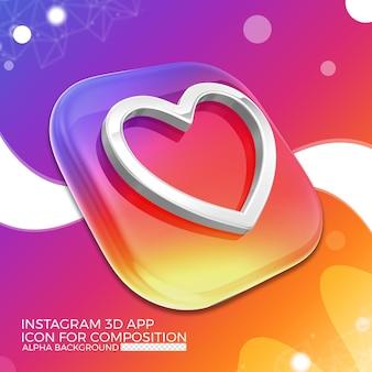 Instagram 3d app symbol für komposition