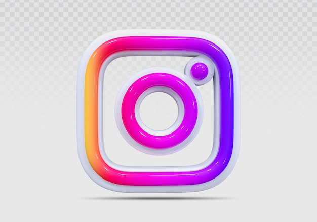 Instagram 3d-symbol rendern konzept kreativ