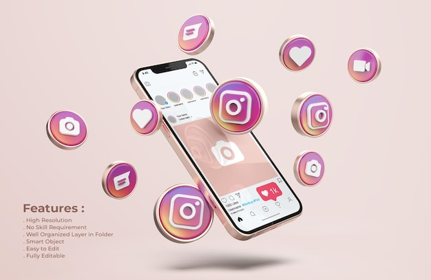 Instagram auf rose gold handy mockup