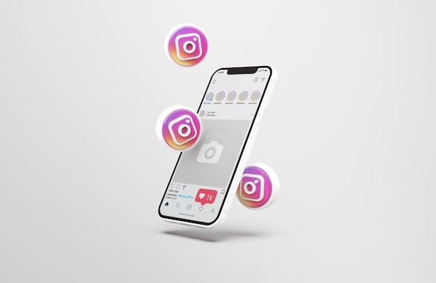 Instagram auf weißem handy-mockup mit 3d-symbolen
