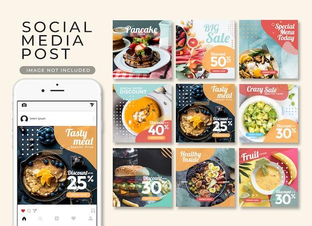 Instagram-beitrag oder quadratische fahne, schnellimbissschablonensammlung