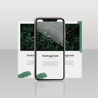 Instagram-beitragsvorlage mit smartphone und blumenkonzept