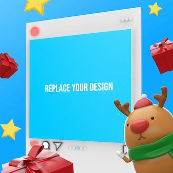 Instagram frohe weihnachten 3d rendering mockup design