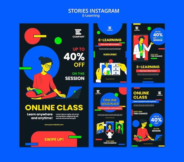 Instagram-geschichten der e-learning-plattform