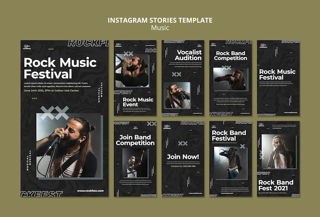Instagram-geschichten des rockmusikfestivals