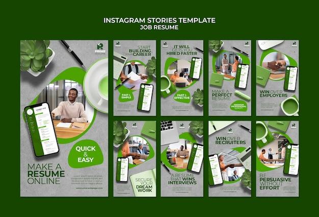 Instagram-geschichten für den job-lebenslauf