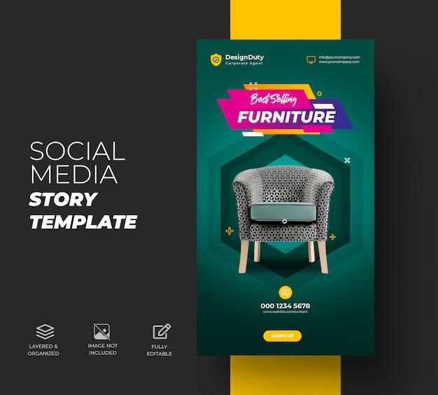 Instagram geschichten für exklusive möbelverkaufsvorlage