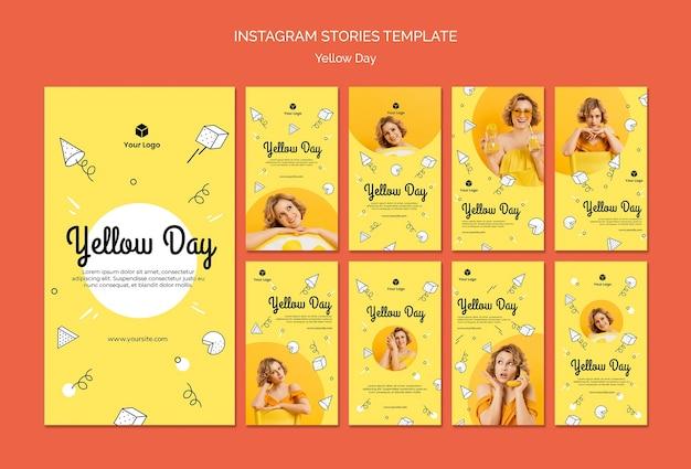 Instagram-geschichten mit gelbem tageskonzept