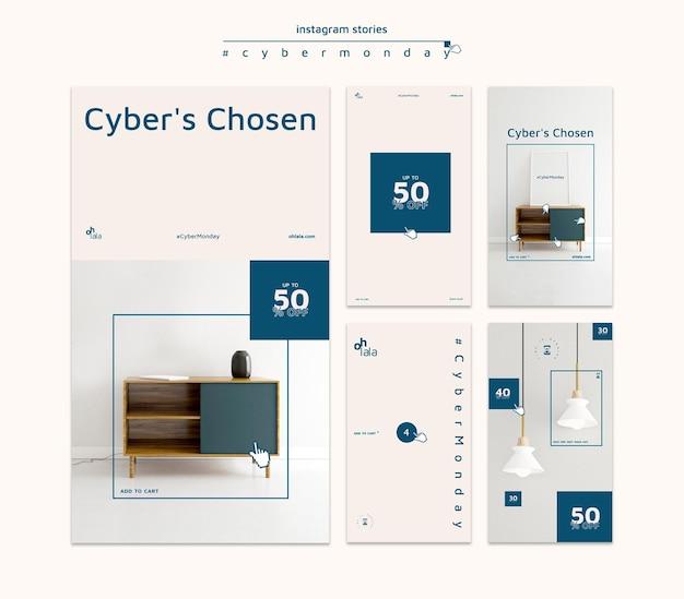 Instagram geschichten sammlung für cyber montag einkaufen