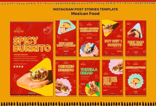 Instagram geschichten sammlung für mexikanisches restaurant