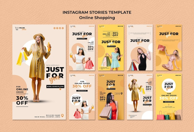 Instagram geschichten sammlung für online-modeverkauf