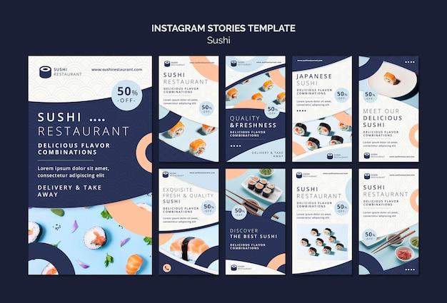Instagram geschichten sammlung für sushi restaurant
