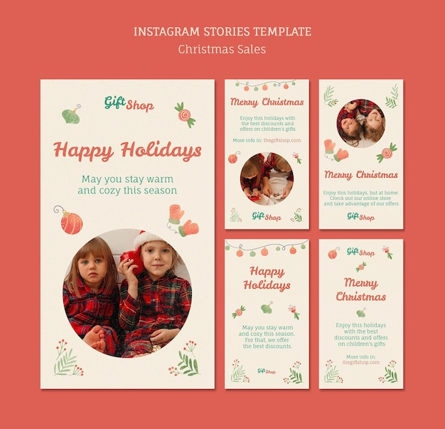 Instagram geschichten sammlung für weihnachtsverkauf mit kindern