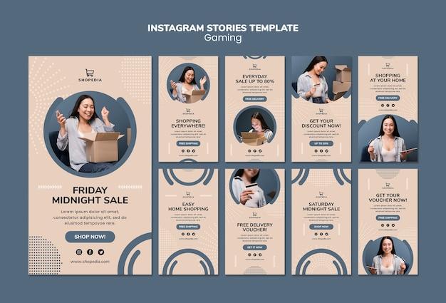 Instagram geschichten vorlage mit online-shopping
