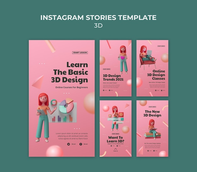 Instagram-geschichtensammlung für 3d-design mit frau