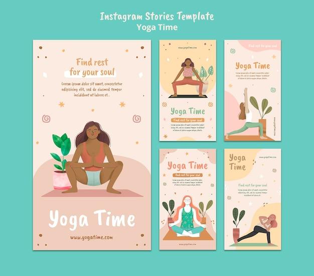 Instagram-geschichtensammlung für die yoga-zeit Premium PSD