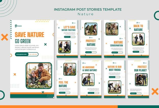 Instagram-geschichtensammlung zur rettung der natur